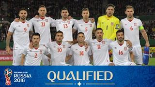 teamfoto voor Servië